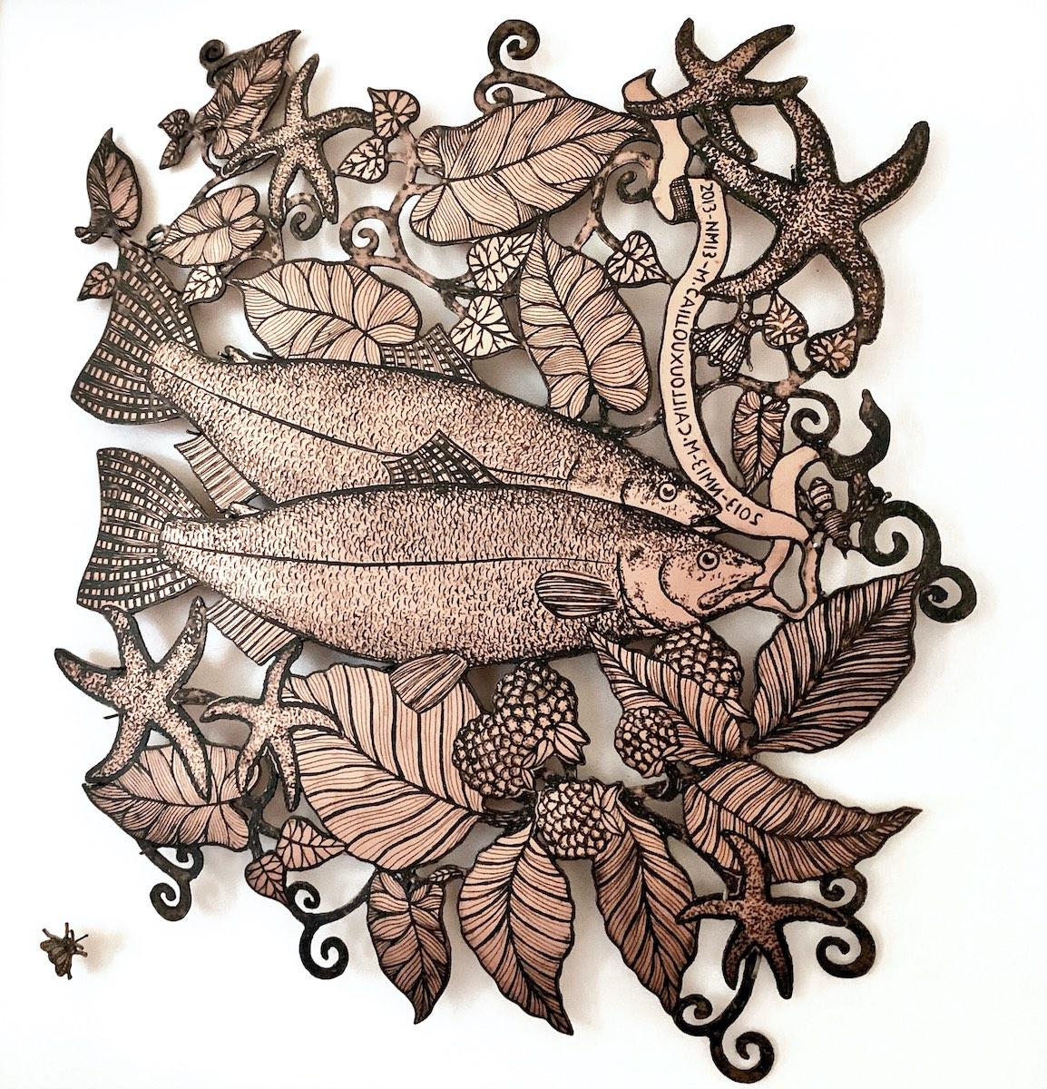 Cailloux Bijou mural Poisson à la framboise